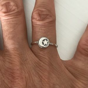 Jewelry - Sterling Silver Small Moon 🌙 And Star ⭐️ Ring